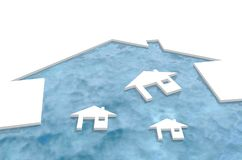 Houses icons floating in home shape cutout harbor Royalty Free Stock Images