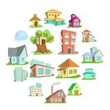 Houses icons set, cartoon style. Houses icons set. Cartoon illustration of 16 houses vector icons for web vector illustration
