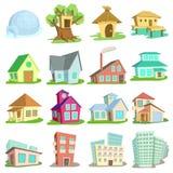 Houses Icons Set, Cartoon Style Royalty Free Stock Photos