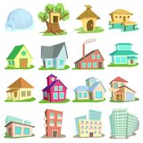 Houses icons set, cartoon style. Houses icons set. Cartoon illustration of 16 houses icons for web royalty free illustration