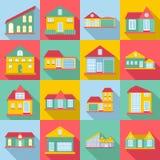 Houses icons set, flat style Stock Photo