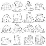Houses icons set, outline cartoon style. Houses icons set. Outline cartoon illustration of 16 houses vector icons for web royalty free illustration