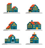 Houses icons set. Real estate and architecture. Royalty Free Stock Photos