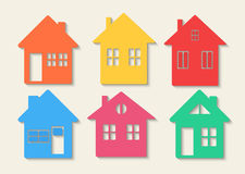 Houses icons set. Real estate. Colourful home icon collection concept. Royalty Free Stock Photos