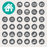 Houses icons set. Real estate. Stock Photos