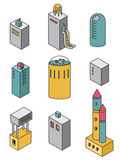 Houses icons set. Vector illustration of a isometric buildings Royalty Free Stock Photo