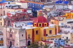 Houses Iglesia de colorata San Roque Guanajuato Mexico Fotografie Stock