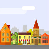 Houses. Illustration of european street bright funny Stock Illustration