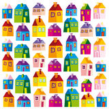 Houses, illustration, wallpaper, background, naive Stock Photo