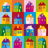 Houses, illustration, wallpaper, background, naive Royalty Free Stock Photography