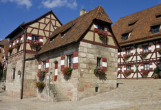 Houses in Imperial Castle Nuremberg. In Germany stock images