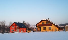 Houses In Winter Royalty Free Stock Photos
