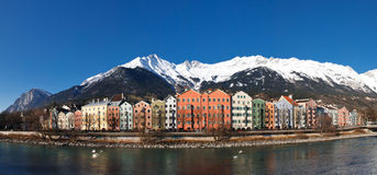 Houses at Inn Riverside, Innsbruck, Austria Stock Photo