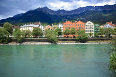 Houses,Innsbruck. Colorful houses at Inn riverside,Innsbruck, Austria Royalty Free Stock Image