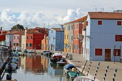 Houses on the island of BURANO near Venice in Italy Stock Photography