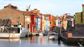 Houses of the island of Burano with waterway near Venice Stock Image