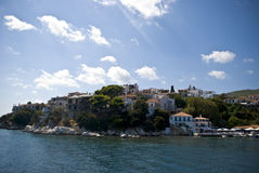 Houses on island in Greece. Houses on island on mediterranean sea during cruise stock photos