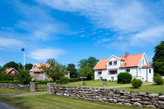 Houses on the island Oeland, Royalty Free Stock Image