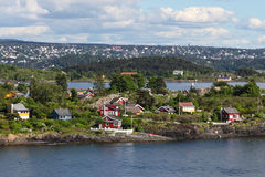 Houses on an island in the Oslo fjord Stock Images