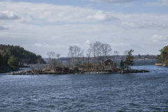 Houses on the islands, Stockholm archipelago. Royalty Free Stock Photo
