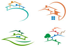 Houses. Isolated line art houses logo set Stock Illustration