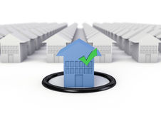 Houses isolated. Rendering of a blue house in front a lot of blurred white houses Stock Images