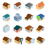 Houses isometric 3d icons set. Isolated on white background Royalty Free Stock Photo