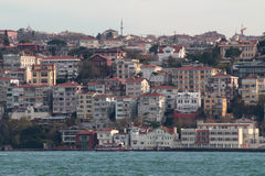 Houses in Istanbul on banks of Bosphorus Strait Royalty Free Stock Image