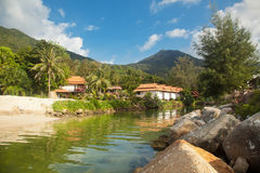 Houses in the jungle on the coast the river Royalty Free Stock Image