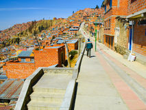 Houses of La Paz in Bolivia. Slum houses built in steep of La Paz, Bolivia Stock Photos