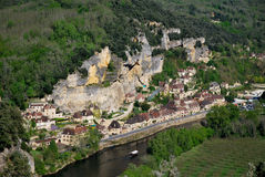 The houses of La Roque Gageac. Tourism in La Roque Gageac in France Royalty Free Stock Images