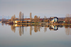 Houses by the lake Royalty Free Stock Photo