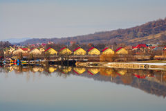Houses by the lake Stock Photography