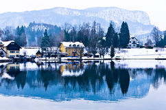 Houses by the Lake Bled Royalty Free Stock Photos