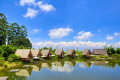 Houses in lake with blue sky in daylight HDR Royalty Free Stock Images