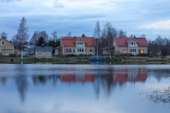 Houses on the lake shore Stock Image