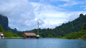 Houses on the lake. A tourist base among tropical forests. Rocks on the background. Cheow Lan lake. Khao Sok National Park. Thailand stock footage