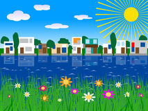 Houses on lake vector Stock Photo