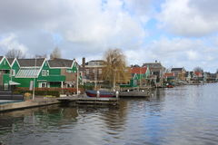 Houses on the lake at Zaanse Schans Royalty Free Stock Images