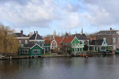 Houses on the lake at Zaanse Schans Stock Images