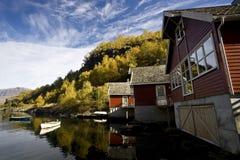 houses laken nära trä Arkivfoton