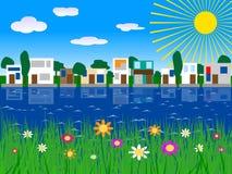 houses lakevektorn Arkivfoto