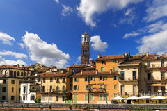 Houses and Lamberti Tower - Verona Italy Royalty Free Stock Image