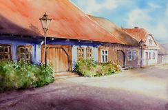 Houses in Lanckorona watercolors painted royalty free stock image