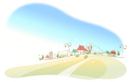 Houses on landscape Stock Photo