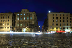 Houses and lanterns on piazza Venezia Stock Photos