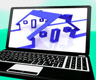 Houses On Laptop Shows Online Real Estates Stock Photo
