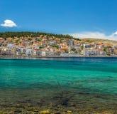 Houses on Lesvos Greece. Houses on the coast of the Greek Island of Lesvos stock photo