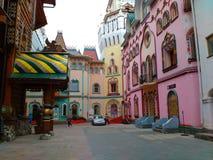 Houses like from fairytale in Izmailovsky Kremlin stock images
