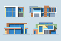 Houses linear 8 color Stock Photography